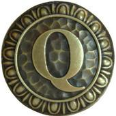 Initial Collection 1-3/8'' Diameter Initial Q Round Cabinet Knob in Antique Brass, 1-3/8'' Diameter x 7/8'' D