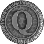 Initial Collection 1-3/8'' Diameter Initial Q Round Cabinet Knob in Antique Pewter, 1-3/8'' Diameter x 7/8'' D