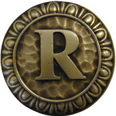 Initial Collection 1-3/8'' Diameter Initial R Round Cabinet Knob in Antique Brass, 1-3/8'' Diameter x 7/8'' D