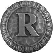 Initial Collection 1-3/8'' Diameter Initial R Round Cabinet Knob in Antique Pewter, 1-3/8'' Diameter x 7/8'' D