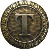 Initial Collection 1-3/8'' Diameter Initial T Round Cabinet Knob in Antique Brass, 1-3/8'' Diameter x 7/8'' D