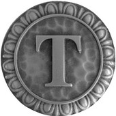 Initial Collection 1-3/8'' Diameter Initial T Round Cabinet Knob in Antique Pewter, 1-3/8'' Diameter x 7/8'' D