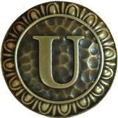 Initial Collection 1-3/8'' Diameter Initial U Round Cabinet Knob in Antique Brass, 1-3/8'' Diameter x 7/8'' D
