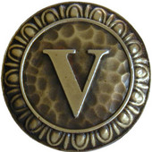 Initial Collection 1-3/8'' Diameter Initial V Round Cabinet Knob in Antique Brass, 1-3/8'' Diameter x 7/8'' D