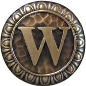 Initial Collection 1-3/8'' Diameter Initial W Round Cabinet Knob in Antique Brass, 1-3/8'' Diameter x 7/8'' D