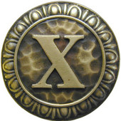 Initial Collection 1-3/8'' Diameter Initial X Round Cabinet Knob in Antique Brass, 1-3/8'' Diameter x 7/8'' D