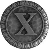 Initial Collection 1-3/8'' Diameter Initial X Round Cabinet Knob in Antique Pewter, 1-3/8'' Diameter x 7/8'' D