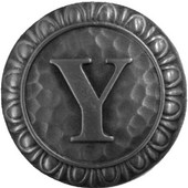 Initial Collection 1-3/8'' Diameter Initial Y Round Cabinet Knob in Antique Pewter, 1-3/8'' Diameter x 7/8'' D