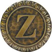 Initial Collection 1-3/8'' Diameter Initial Z Round Cabinet Knob in Antique Brass, 1-3/8'' Diameter x 7/8'' D