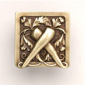 Kitchen Garden Collection 1-1/2'' Wide Leafy Carrot Square Cabinet Knob in Antique Brass, 1-1/2'' W x 7/8'' D x 1-1/2'' H