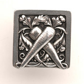 Kitchen Garden Collection 1-1/2'' Wide Leafy Carrot Square Cabinet Knob in Brilliant Pewter, 1-1/2'' W x 7/8'' D x 1-1/2'' H