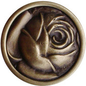 English Garden Collection 1-5/16'' Diameter McKenna's Rose Round Cabinet Knob in Antique Brass, 1-5/16'' Diameter x 7/8'' D
