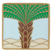 Tropical Collection 1-1/2'' Wide Royal Palm/Pale Blue Square Cabinet Knob in Enameled Antique Brass, 1-1/2'' W x 7/8'' D x 1-1/2'' H