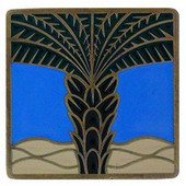Tropical Collection 1-1/2'' Wide Royal Palm/Periwinkle Square Cabinet Knob in Enameled Antique Brass, 1-1/2'' W x 7/8'' D x 1-1/2'' H