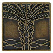 Tropical Collection 1-1/2'' Wide Royal Palm Square Cabinet Knob in Antique Brass, 1-1/2'' W x 7/8'' D x 1-1/2'' H