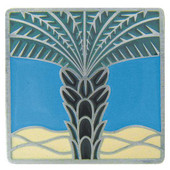 Tropical Collection 1-1/2'' Wide Royal Palm/Periwinkle Square Cabinet Knob in Enameled Antique Pewter, 1-1/2'' W x 7/8'' D x 1-1/2'' H