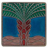 Tropical Collection 1-1/2'' Wide Royal Palm/Turquoise Square Cabinet Knob in Enameled Brilliant Pewter, 1-1/2'' W x 7/8'' D x 1-1/2'' H