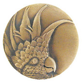 Tropical Collection 1-3/8'' Diameter Small Cockatoo Left Side Round Cabinet Knob in Antique Brass, 1-3/8'' Diameter x 7/8'' D