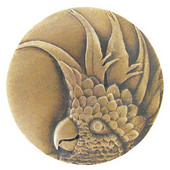 Tropical Collection 1-3/8'' Diameter Small Cockatoo Right Side Round Cabinet Knob in Antique Brass, 1-3/8'' Diameter x 7/8'' D