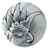 Tropical Collection 1-3/8'' Diameter Small Cockatoo Left Side Round Cabinet Knob in Brilliant Pewter, 1-3/8'' Diameter x 7/8'' D