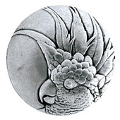 Tropical Collection 1-3/8'' Diameter Small Cockatoo Right Side Round Cabinet Knob in Brilliant Pewter, 1-3/8'' Diameter x 7/8'' D