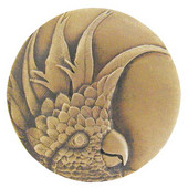 Tropical Collection 2'' Diameter Large Cockatoo Left Side Round Cabinet Knob in Antique Brass, 2'' Diameter x 7/8'' D