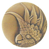Tropical Collection 2'' Diameter Large Cockatoo Right Side Round Cabinet Knob in Antique Brass, 2'' Diameter x 7/8'' D