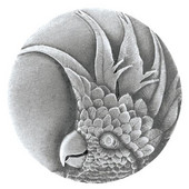 Tropical Collection 2'' Diameter Large Cockatoo Right Side Round Cabinet Knob in Antique Pewter, 2'' Diameter x 7/8'' D