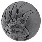 Tropical Collection 2'' Diameter Large Cockatoo Left Side Round Cabinet Knob in Brilliant Pewter, 2'' Diameter x 7/8'' D
