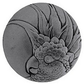 Tropical Collection 2'' Diameter Large Cockatoo Right Side Round Cabinet Knob in Brilliant Pewter, 2'' Diameter x 7/8'' D