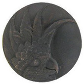 Tropical Collection 2'' Diameter Large Cockatoo Left Side Round Cabinet Knob in Dark Brass, 2'' Diameter x 7/8'' D