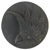 Tropical Collection 2'' Diameter Large Cockatoo Right Side Round Cabinet Knob in Dark Brass, 2'' Diameter x 7/8'' D
