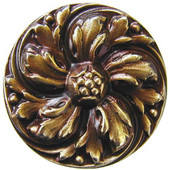 Classic Collection 1-3/8'' Diameter Chrysanthemum Round Cabinet Knob in Antique Brass, 1-3/8'' Diameter x 7/8'' D