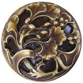 Florals & Leaves Collection 1-3/8'' Diameter Florid Leaves Round Cabinet Knob in Antique Brass, 1-3/8'' Diameter x 7/8'' D
