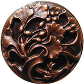 Florals & Leaves Collection 1-3/8'' Diameter Florid Leaves Round Cabinet Knob in Antique Copper, 1-3/8'' Diameter x 7/8'' D