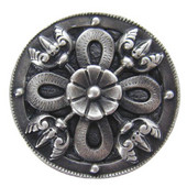 Period Pieces Collection 1-1/8'' Diameter Celtic Shield Round Cabinet Knob in Antique Pewter, 1-1/8'' Diameter x 7/8'' D