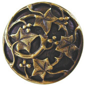 Florals & Leaves Collection 1-1/8'' Diameter Ivy with Berries Round Cabinet Knob in Antique Brass, 1-1/8'' Diameter x 7/8'' D