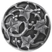 Florals & Leaves Collection 1-1/8'' Diameter Ivy with Berries Round Cabinet Knob in Antique Pewter, 1-1/8'' Diameter x 7/8'' D