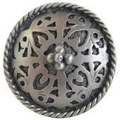 Period Pieces Collection 1-1/16'' Diameter Moroccan Jewel Round Cabinet Knob in Antique Pewter, 1-1/16'' Diameter x 7/8'' D