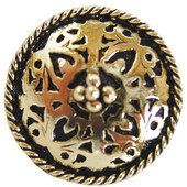 Period Pieces Collection 1-1/16'' Diameter Moroccan Jewel Round Cabinet Knob in Brite Brass, 1-1/16'' Diameter x 7/8'' D