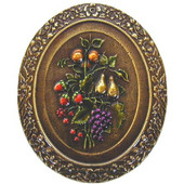Tuscan Collection 1-3/16'' Diameter Fruit Bouquet Oval Cabinet Knob in Hand-Tinted Antique Brass, 1-3/16'' Diameter x 7/8'' D x 1-3/8'' H