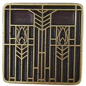 Period Pieces Collection 1-1/4'' Wide Prairie Tulips Square Cabinet Knob in Antique Brass, 1-1/4'' W x 7/8'' D x 1-1/4'' H