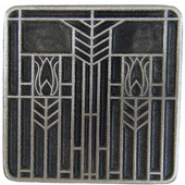 Period Pieces Collection 1-1/4'' Wide Prairie Tulips Square Cabinet Knob in Antique Pewter, 1-1/4'' W x 7/8'' D x 1-1/4'' H