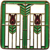 Period Pieces Collection 1-1/4'' Wide Prairie Tulips Square Cabinet Knob in Enameled Antique Brass and Spring Green, 1-1/4'' W x 7/8'' D x 1-1/4'' H
