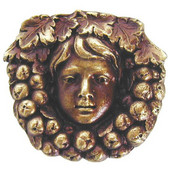 Tuscan Collection 1-3/8'' Diameter Fruit of the Vine Round Cabinet Knob in Antique Brass, 1-3/8'' Diameter x 7/8'' D