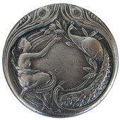 Period Pieces Collection 1-3/8'' Diameter Peacock Lady Round Cabinet Knob in Antique Pewter, 1-3/8'' Diameter x 7/8'' D