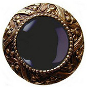 Jewels Collection 1-5/16'' Diameter Victorian Jewel Round Cabinet Knob in Antique Brass with Onyx Natural Stone, 1-5/16'' Diameter x 1-1/4'' D