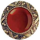 Jewels Collection 1-5/16'' Diameter Victorian Jewel Round Cabinet Knob in Antique Brass with Red Carnelian Natural Stone, 1-5/16'' Diameter x 1-1/4'' D