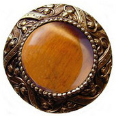 Jewels Collection 1-5/16'' Diameter Victorian Jewel Round Cabinet Knob in Antique Brass with Tiger Eye Natural Stone, 1-5/16'' Diameter x 1-1/4'' D