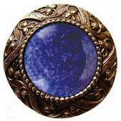 Jewels Collection 1-5/16'' Diameter Victorian Jewel Round Cabinet Knob in Antique Brass with Blue Sodalite Natural Stone, 1-5/16'' Diameter x 1-1/4'' D